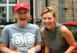 Two girls taken by surprise on the London Treasure Hunt.