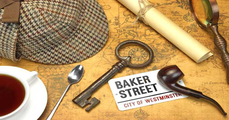 A collection of Sherlock Holmes memorabilia from the Baker Street Treasure Hunt.