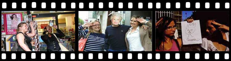 Three images showing people Posing with the Queen on the Belgravia Treasure Hunt.