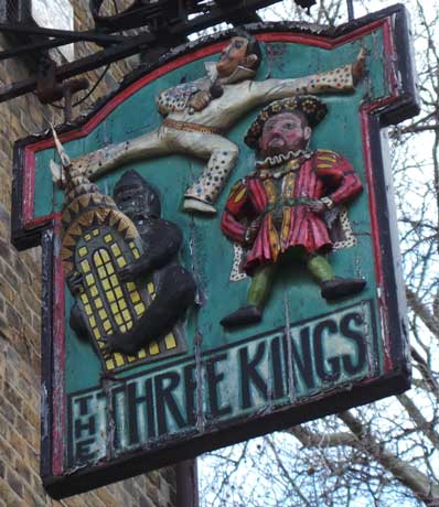 The pub sign for the Three Kings of Clerkenwell.