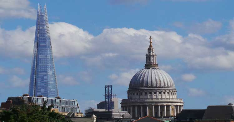 The view of St Paul's Cathedral and The Shard from Clerkenwell.