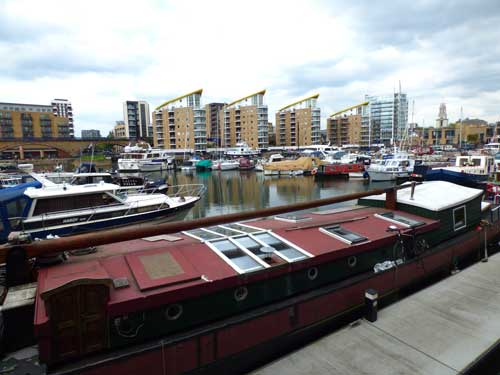 A view across Limehouse Basin..