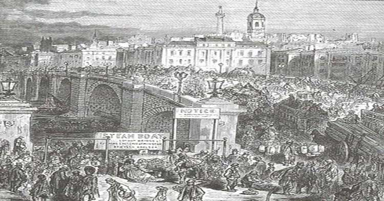An illustration showing old London Bridge.