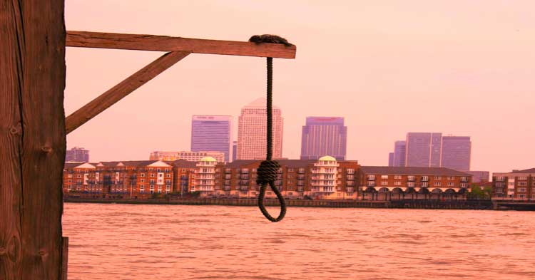 A view of Docklands showing Canary Wharf and the River Thames.