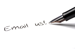 "Pen writing ""email us."