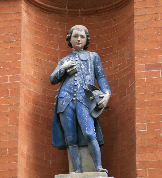 A statue of a charity boy that is featured on our Old Docklands Treasure Hunt.