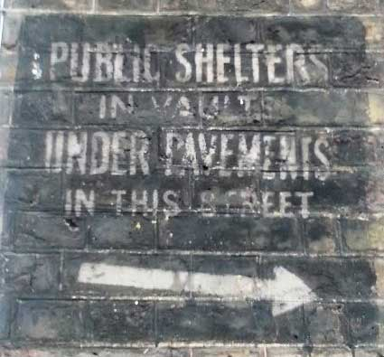 The World War Two Public Shelter sign in a Westminster backstreet.